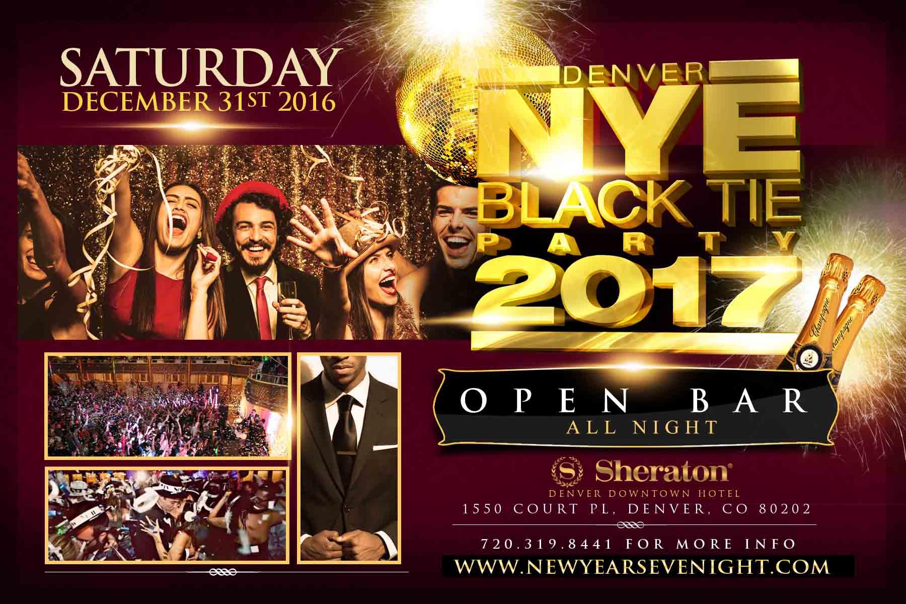 Denver New year's Eve Black Tie Flyer